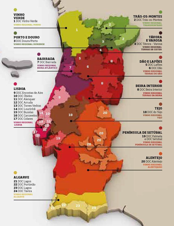 Karte Weinanbau Portugal